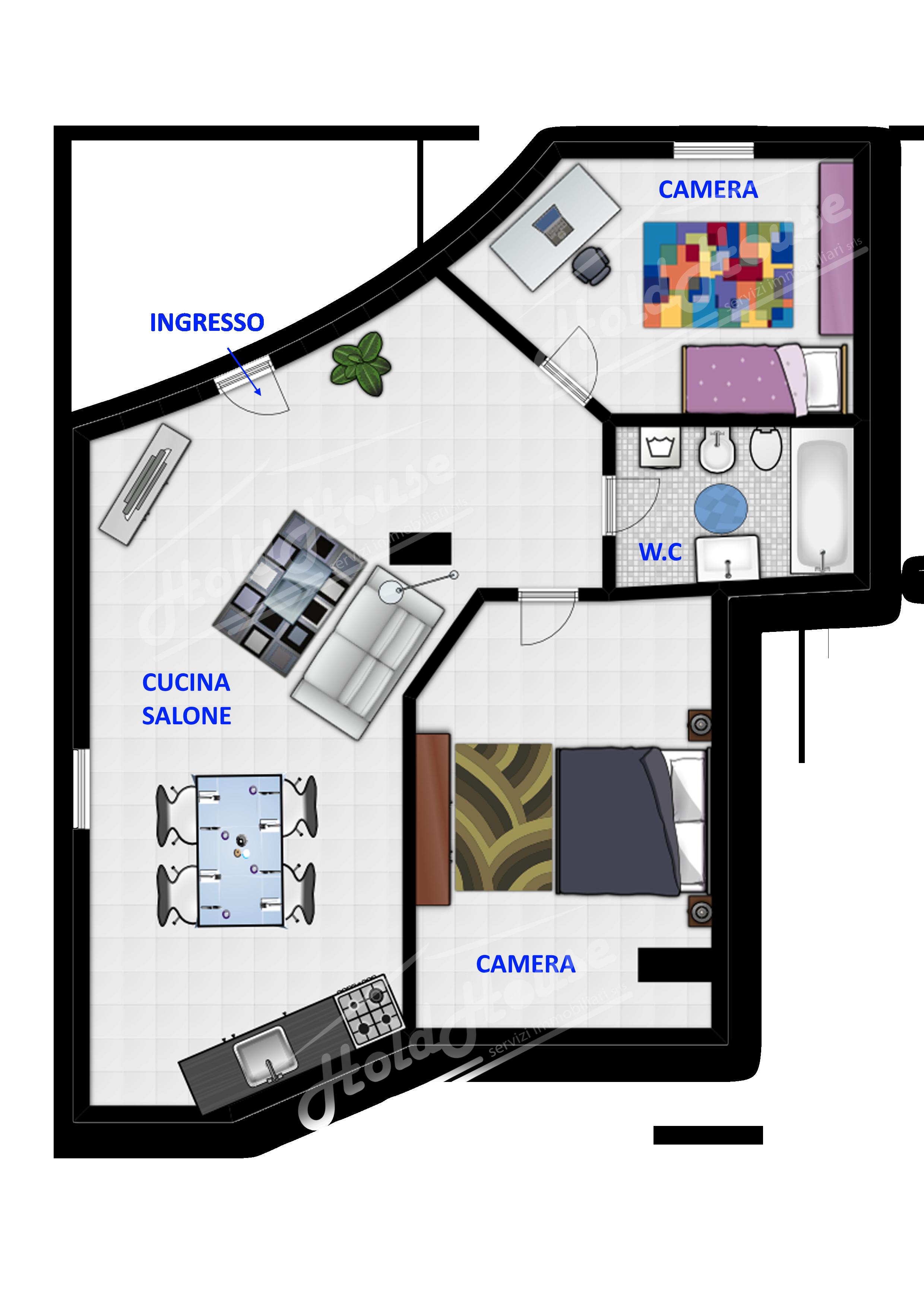 Cod hold155 appartamento al piano terra di tre vani e for Piano di deposito