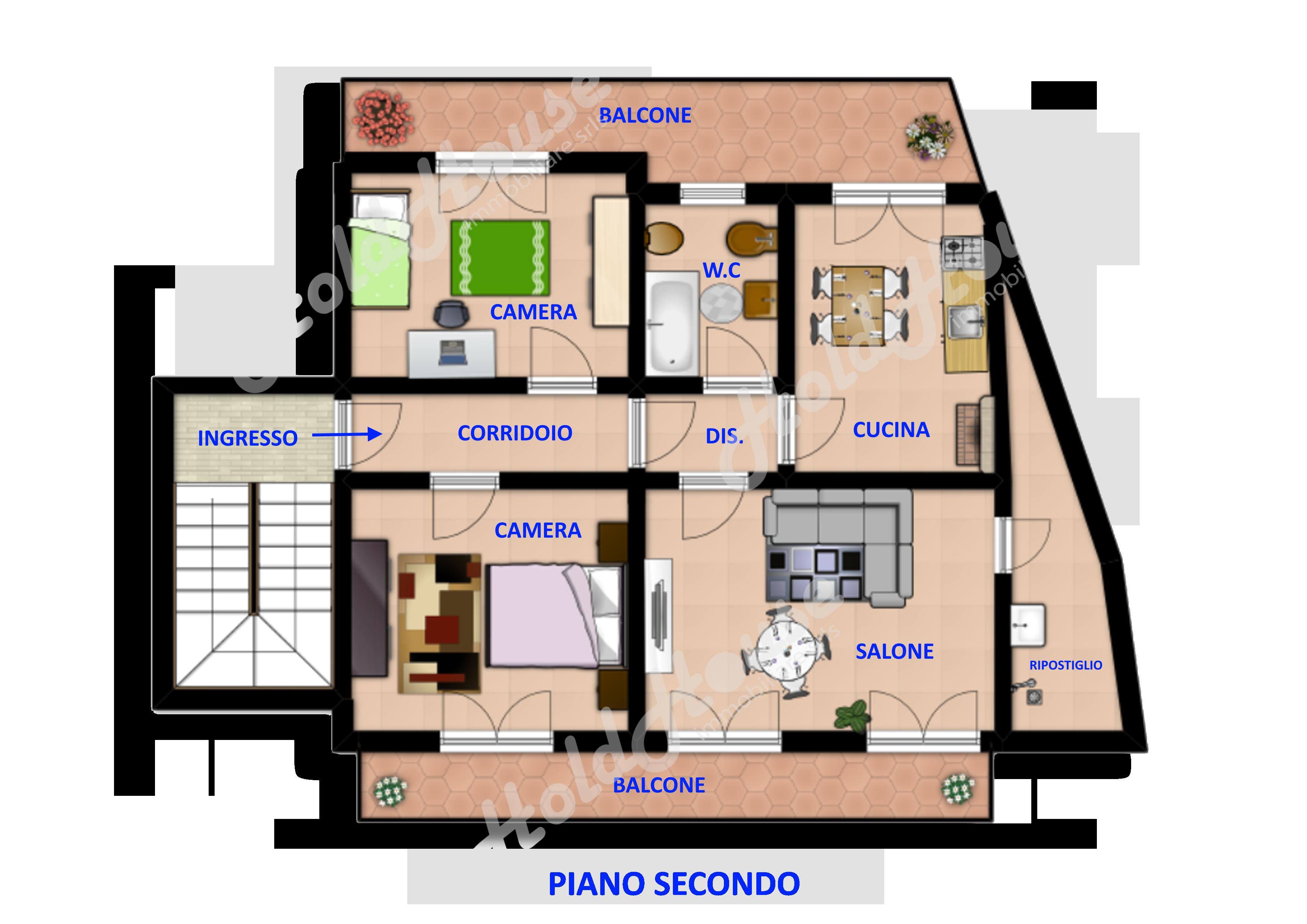 Cod hold137 appartamento in mini condominio con for Appartamento 50