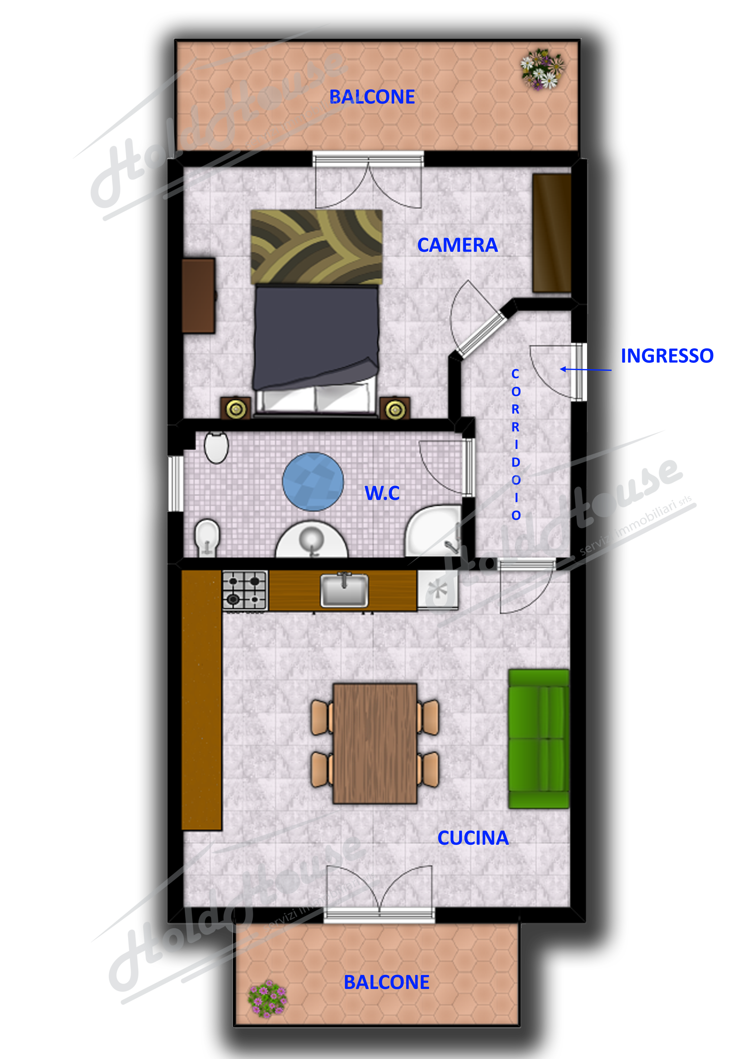 Cod mini appartamento di circa 40 metri for Scala metri quadrati